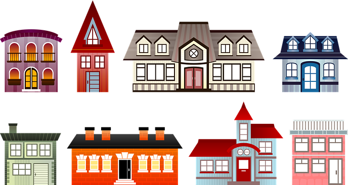Multi-Colored Homes of Varying Shapes and sizes